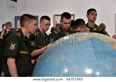 ST. PETERSBURG, RUSSIA - JUNE 24, 2015: Cadets on the exhibition