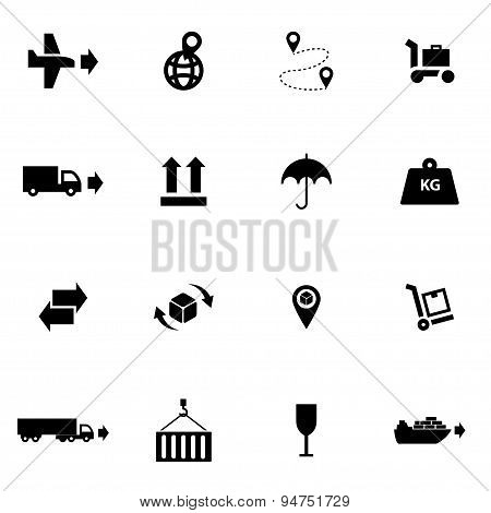 Vector black logistic icon set
