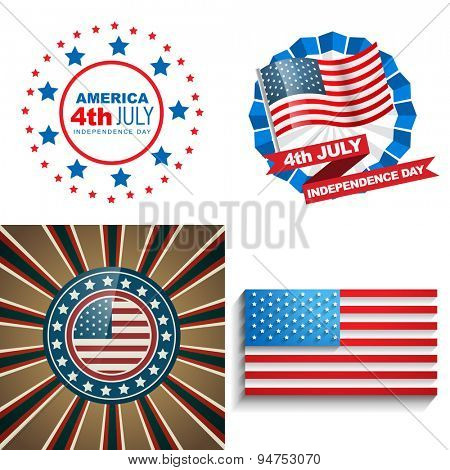 vector stylish set of 4th july american independence day background illustration