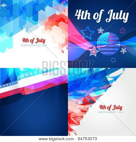 vector collection of american flag design illustration with creative pattern