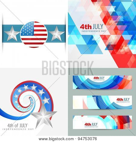 vector collection of creative american independence day background illustration with banner design and pattern