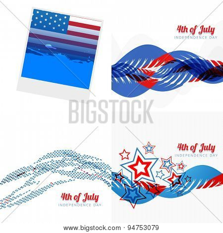 vector stylish set of 4th july american independence day with photo frame, wave and creative pattern