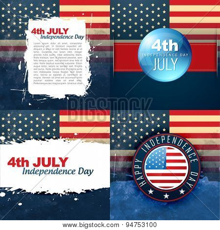 vector set of american flag design background illustration