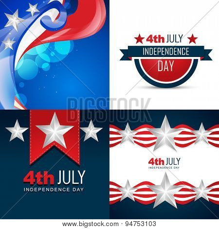 vector stylish set of american independence day background illustration with creative pattern