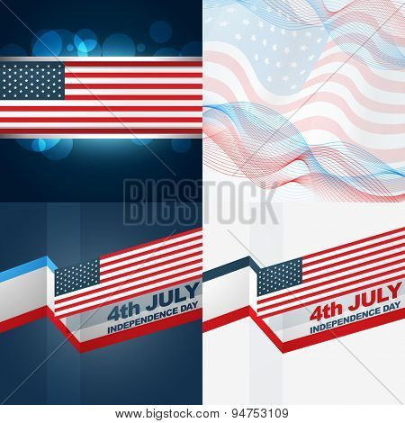 vector set of american flag design illustration with creative pattern and wave style