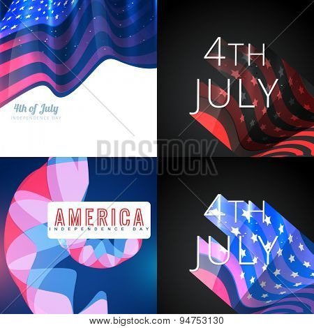 vector set of 4th july american independence day flag design with creative background