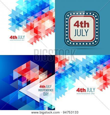 vector set of american independence day background illustration with creative pattern