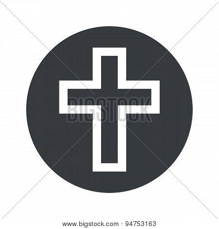 Monochrome round christian cross icon
