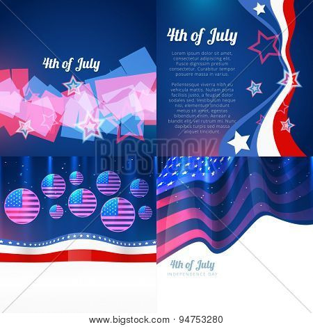vector stylish set of 4th july american independence day withamericdan flag design and wave