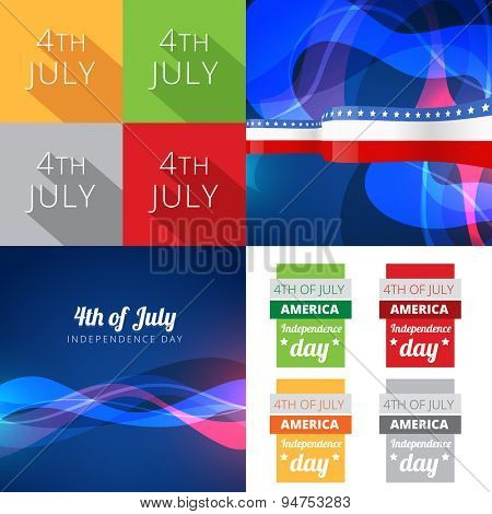 vector set of 4th july american independence day with wave effect and creative background
