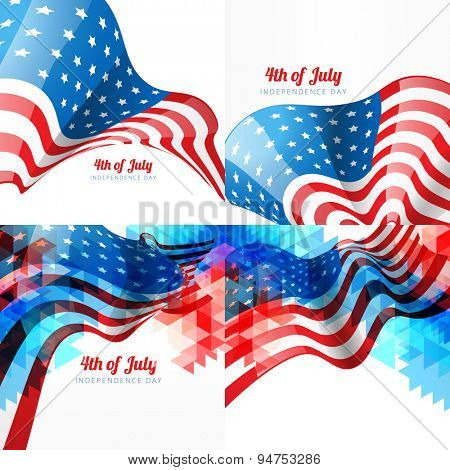 vector set of american independence day background with american flag with creative style