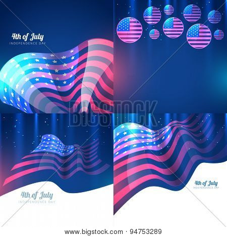 vector creative set of american independence day with creative style pattern