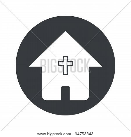 Monochrome round christian house icon