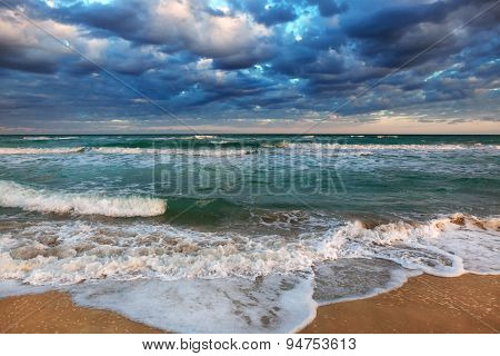tropical sea shore on a cloudy day