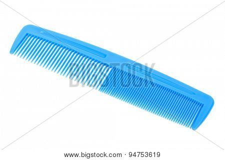 new blue plastic comb on a white background