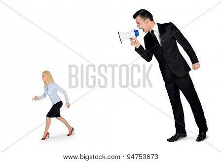 Business man screaming on megaphone on little woman