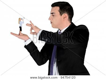 Isolated arrogant business man finger flipping on little woman