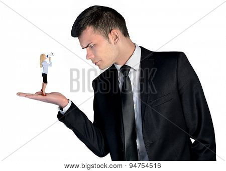 Isolated business man looking angry on little woman