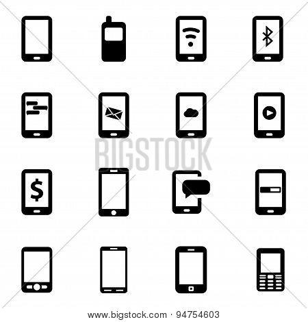 Vector black mobile icon set