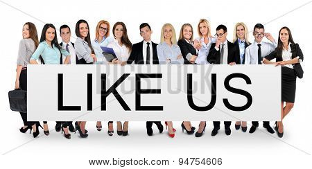 Like us word writing on white banner