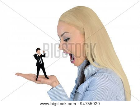 Isolated business woman looking shocked on little man