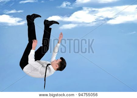 Young Business man sky free fall