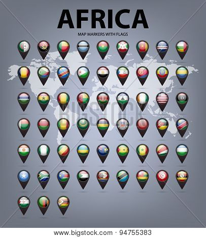 Map markers with flags - Africa. Original colors.