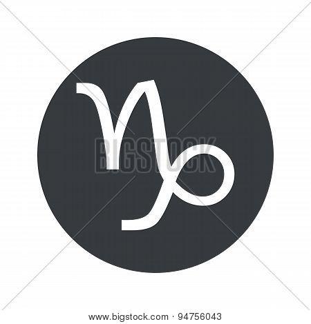 Monochrome round Capricorn icon