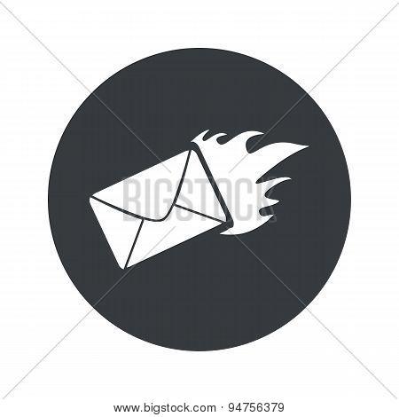 Monochrome round burning letter icon