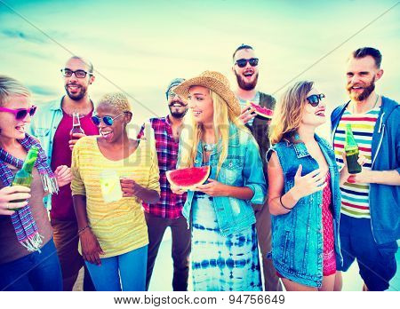 Diverse Beach Summer Friends Fun Bonding Concept