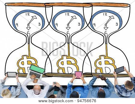 Time is Money Sanglass Investment Countdown Measure Concept