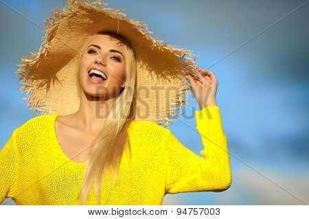 Summer holidays and vacation concept, girl standing on the sky background
