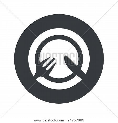 Monochrome round tableware icon