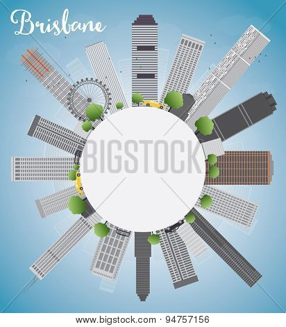 Brisbane skyline with grey building, blue sky and copy space. Vector illustration