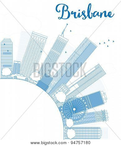 Outline Brisbane skyline with blue building and copy space. Vector illustration