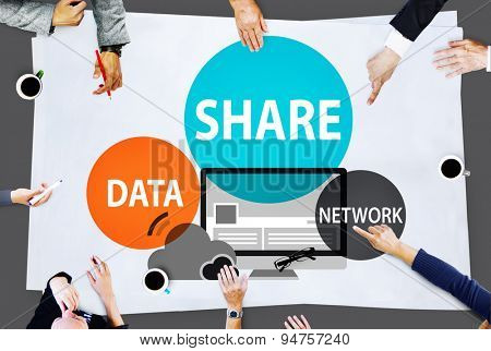 Share Data Network Sharing Social Network Connection Concept