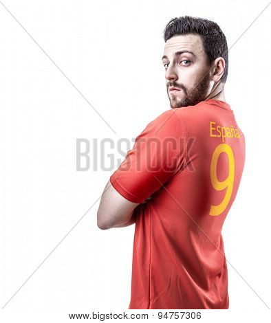 Spanish soccer player on white background