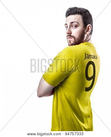 Jamaican soccer player on white background