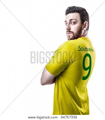 South African soccer player on white background
