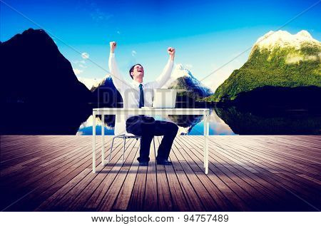 Businessman Travel Destination Working Success Relax Concept