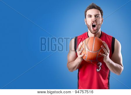 Basketball Player on a red uniform on blue background