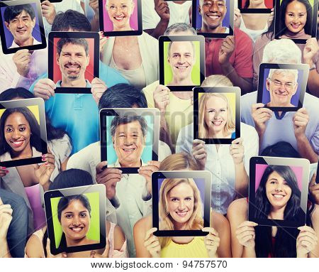 Diversity of People Digital Communication Technology Concept