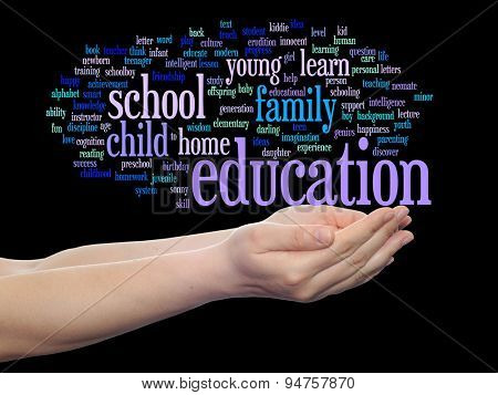 Concept or conceptual child education or family abstract word cloud, human man hand on background