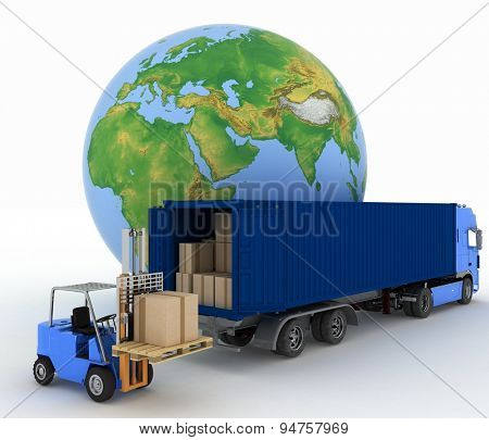 Globe and auto loader with boxes. 3d image on a white background