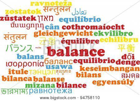 Background concept wordcloud multilanguage international many language illustration of balance