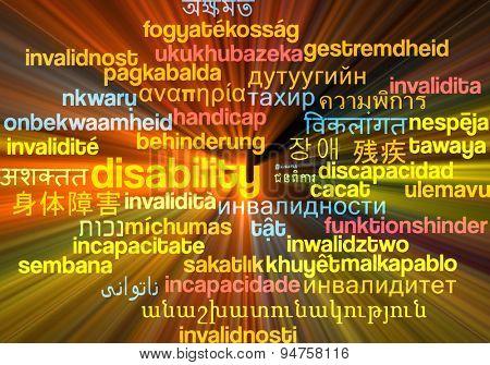 Background concept wordcloud multilanguage international many language illustration of disability glowing light