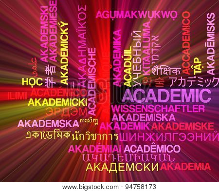Background concept wordcloud multilanguage international many language illustration of acedemic glowing light