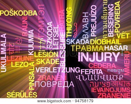 Background concept wordcloud multilanguage international many language illustration of injury glowing light