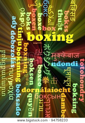 Background concept wordcloud multilanguage international many language illustration of boxing glowing light