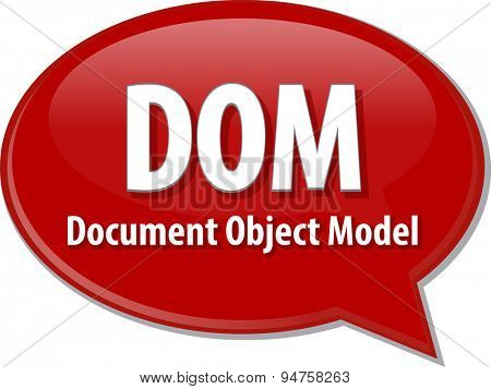 Speech bubble illustration of information technology acronym abbreviation term definition DOM Document Object Model
